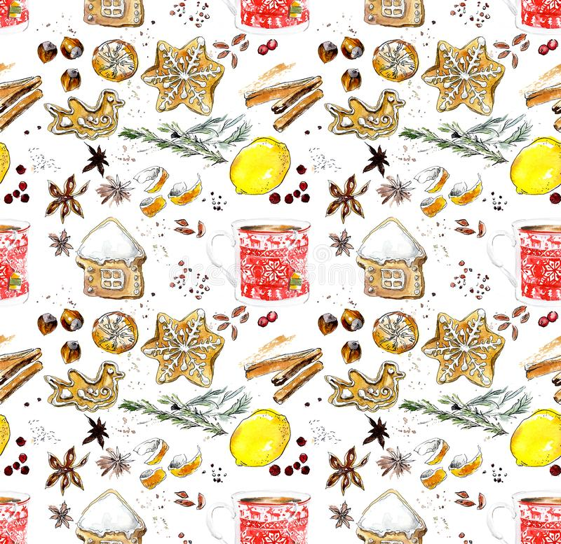 La Navidad y Año Nuevo Vector inconsútil Ejemplo dibujado mano de la acuarela libre illustration