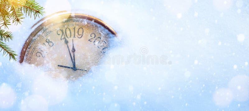 La Navidad 2019 y Años Nuevos de la invitación de fondo de la bandera fotografía de archivo libre de regalías