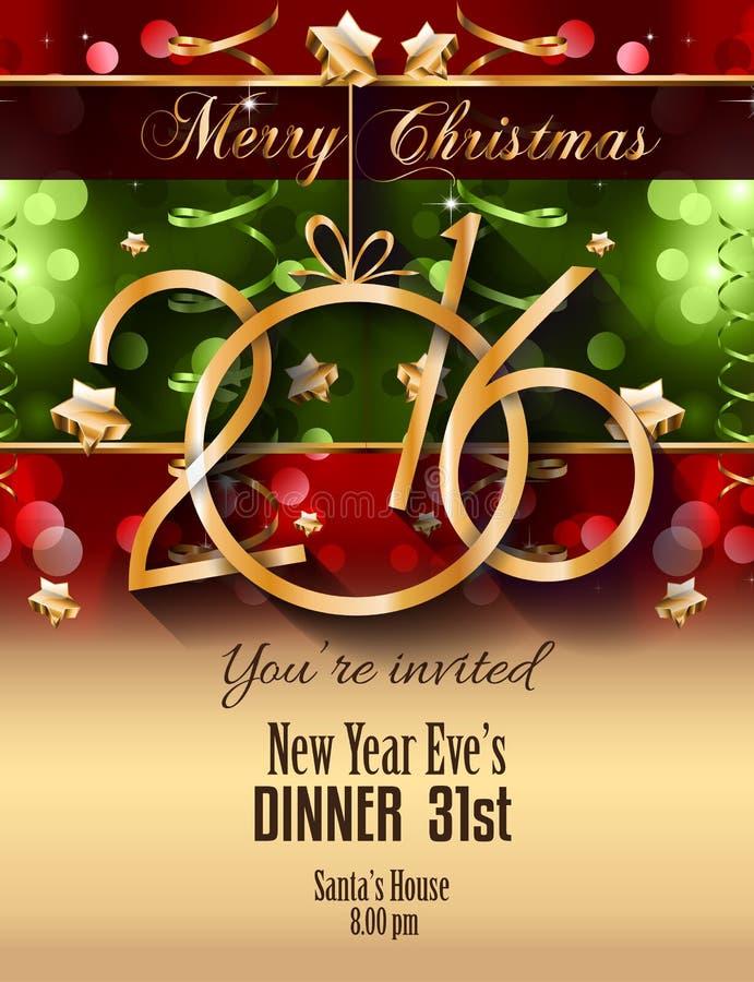 La Navidad 2016 y aviador del partido de la Feliz Año Nuevo completo ilustración del vector