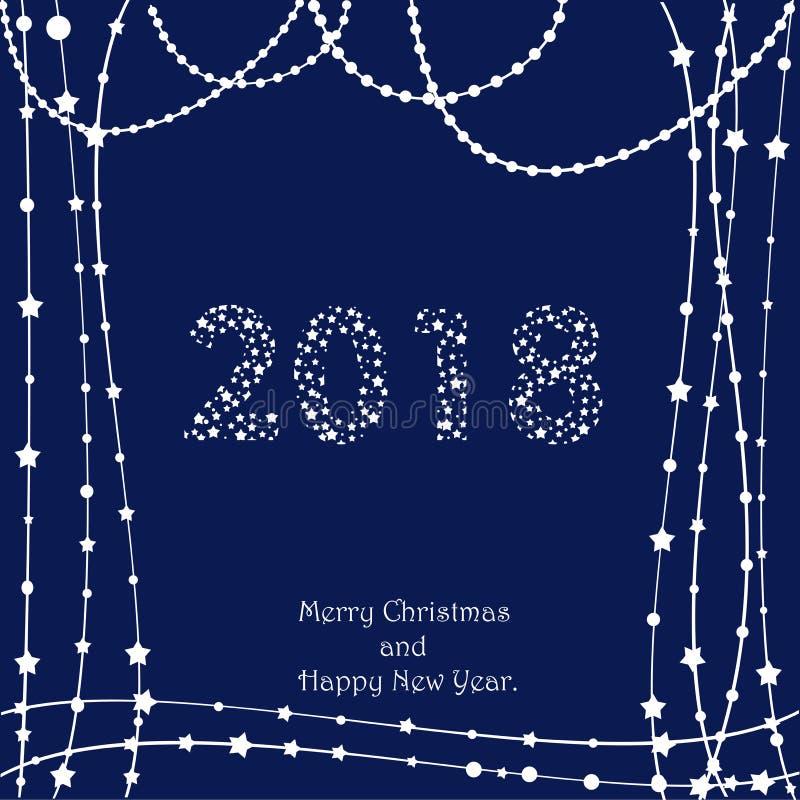 La Navidad y el Año Nuevo tipográficos en fondo brillante de Navidad con invierno ajardinan con los copos de nieve, se encienden, ilustración del vector