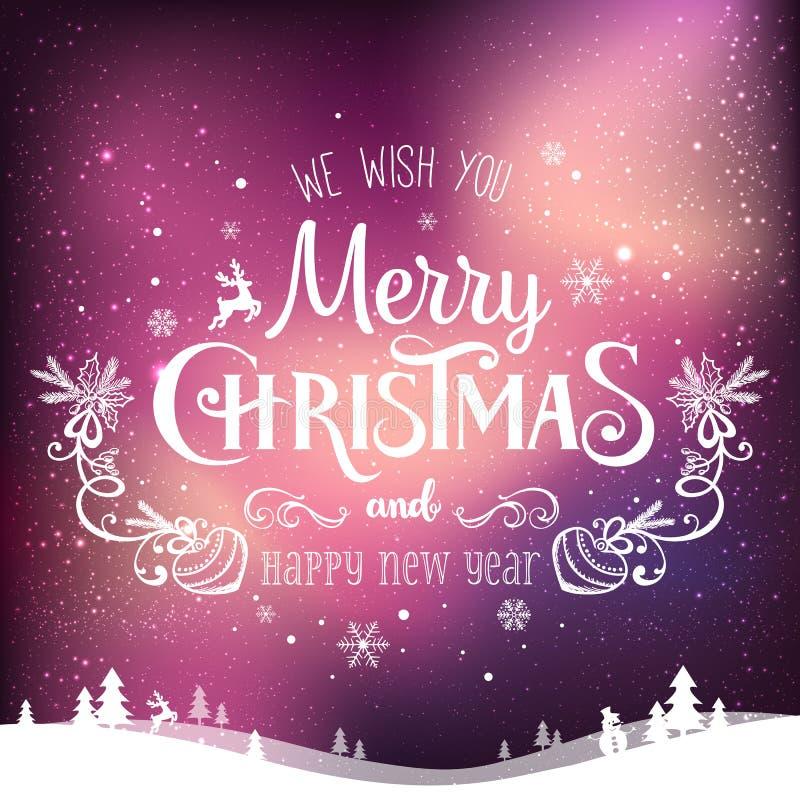 La Navidad y el Año Nuevo tipográficos en fondo con invierno ajardinan con la aurora boreal, copos de nieve, luz, estrellas Tarje ilustración del vector