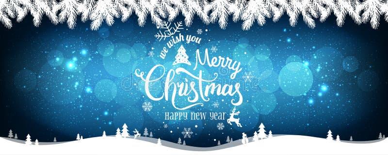 La Navidad y el Año Nuevo tipográficos en el fondo con los copos de nieve, luz de los días de fiesta, protagoniza stock de ilustración
