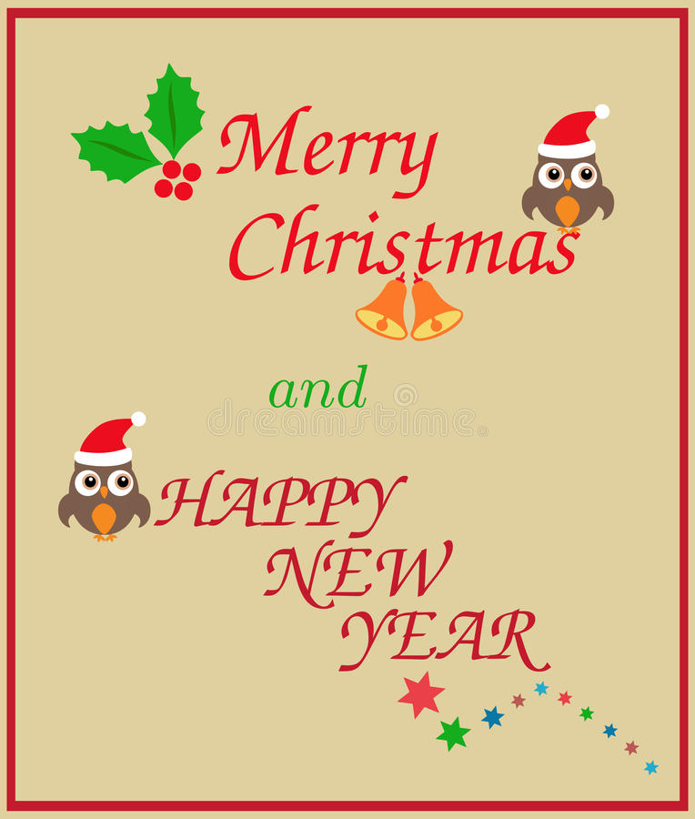 La Navidad y Feliz Año Nuevo cad ilustración del vector