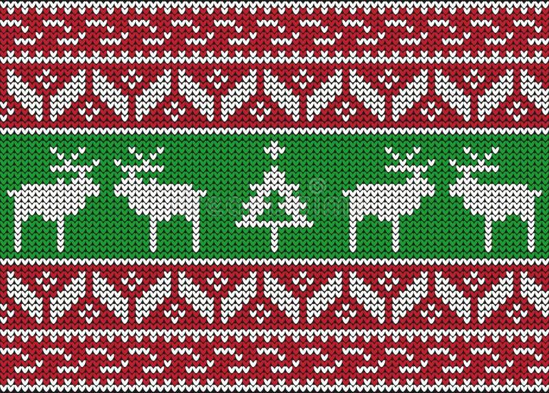 La Navidad y modelo inconsútil hecho punto invierno stock de ilustración