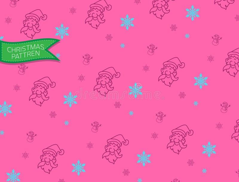 La Navidad y muñeco de nieve de Papá Noel del modelo, garabato y vector libre illustration