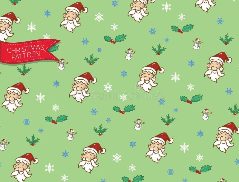 La Navidad y muñeco de nieve de Papá Noel del modelo, garabato y vector ilustración del vector