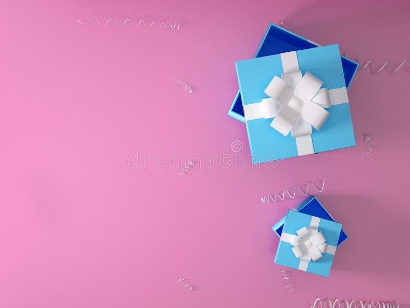 La Navidad y opinión superior azul abierta de la caja de regalo del ` s del Año Nuevo sobre fondo rosado representación 3d de una fotografía de archivo
