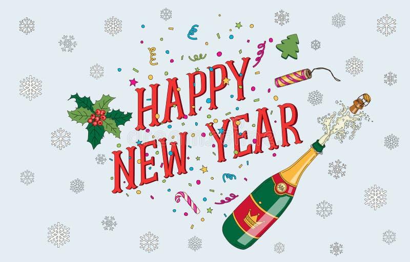 La Navidad y postal handdrawing del Año Nuevo 2017 libre illustration