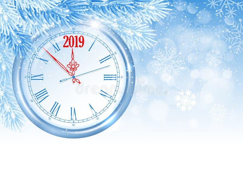 La Navidad y reloj del Año Nuevo stock de ilustración