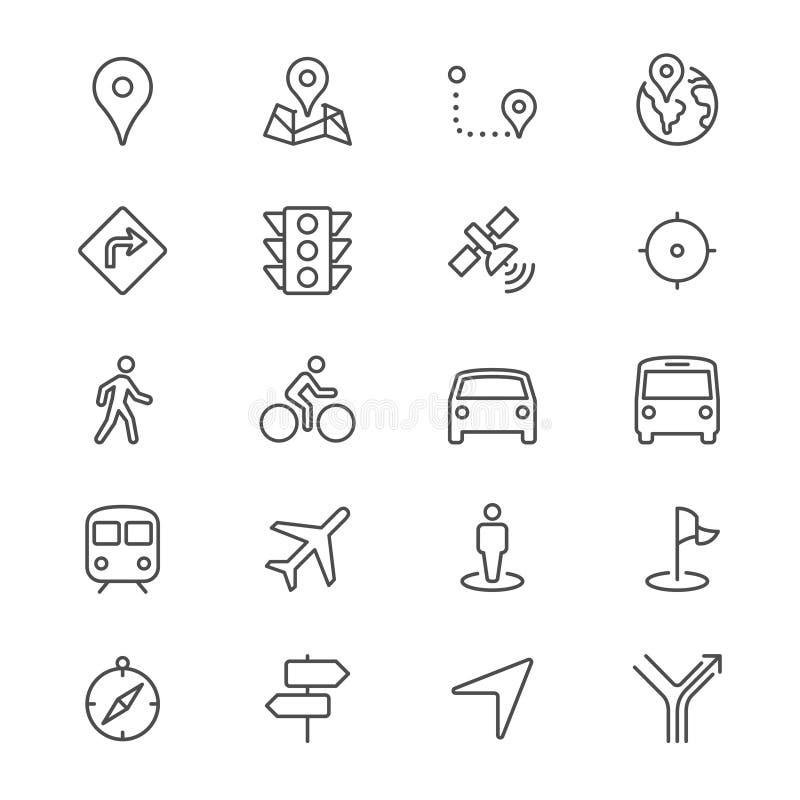 La navigation amincissent des icônes illustration stock