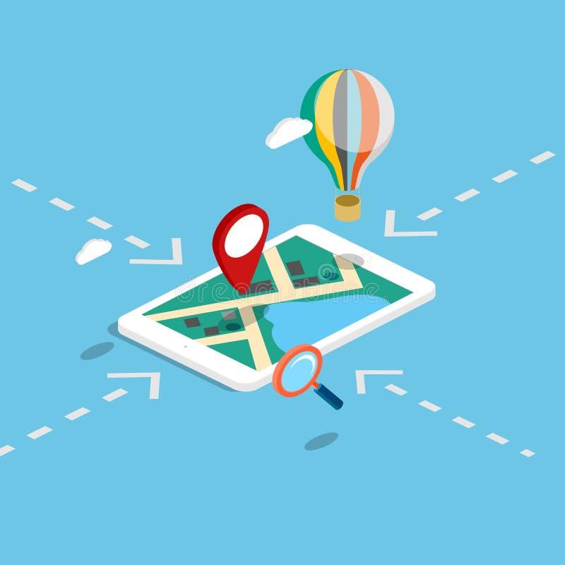 La navigation 3d mobile isométrique plate trace infographic illustration de vecteur