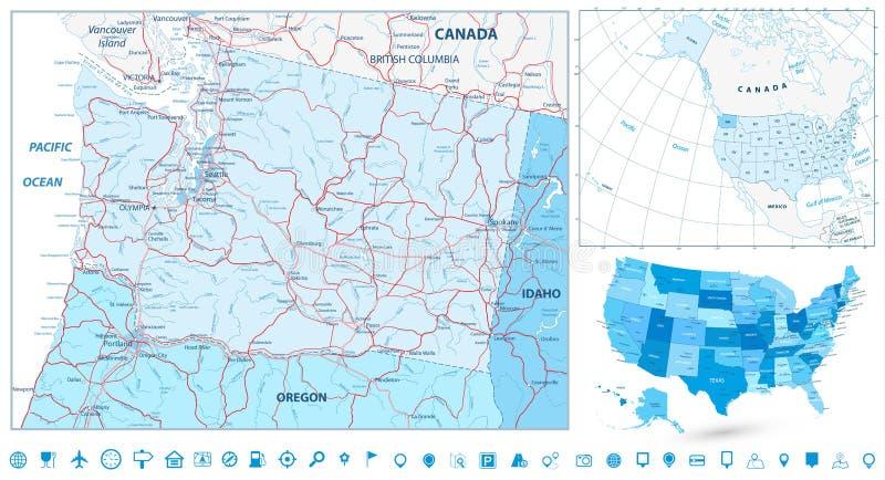 La navigation de carte de l'état de Washington a placé en couleurs de bleu illustration libre de droits