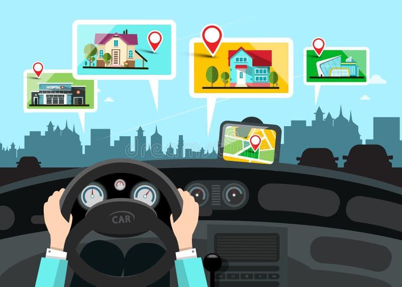 La navigation de voiture avec des édifices publics de ville tracent illustration de vecteur