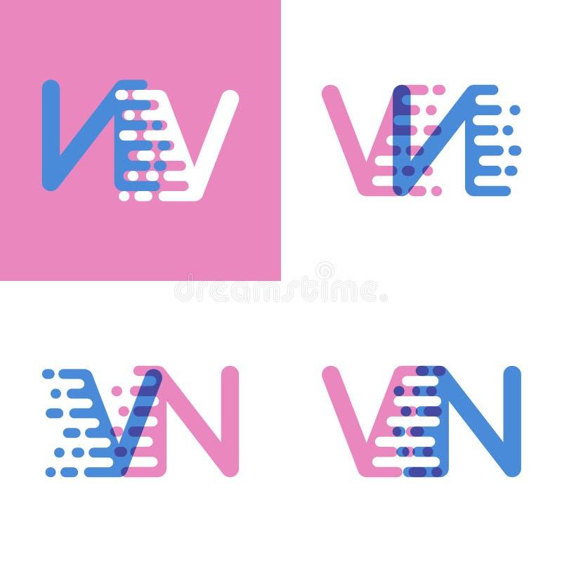 La navigation verticale marque avec des lettres le logo avec le rose et doucement le bleu de vitesse d'accent doucement illustration libre de droits