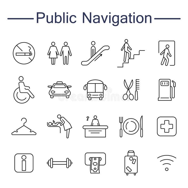 La navigazione pubblica firma le icone illustrazione di stock