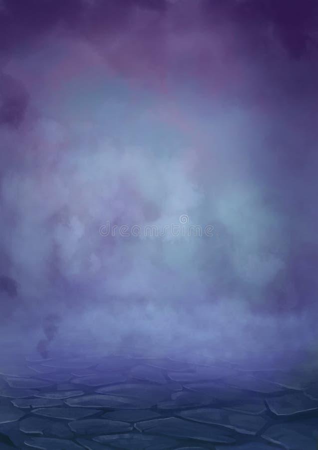 La nebbia della guerra nel mondo di fantasia medievale illustrazione di stock