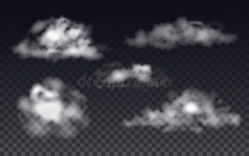La nebbia, il fumo e la nuvola hanno isolato l'effetto speciale trasparente illustrazione di stock