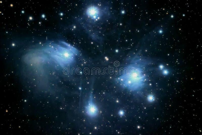 La nebulosa di riflessione delle Pleiadi nella costellazione di Taurus Apri cluster a stella fotografie stock