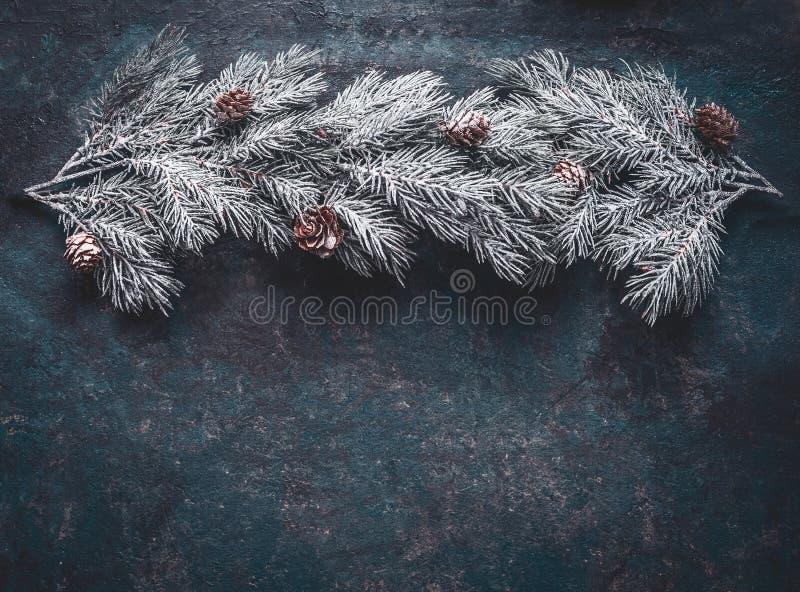 La neige a couvert des branches de sapin de cônes sur le fond bleu-foncé, vue supérieure avec l'espace de copie pour votre concep photo libre de droits