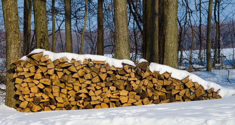 La neige a couvert la pile en bois photographie stock