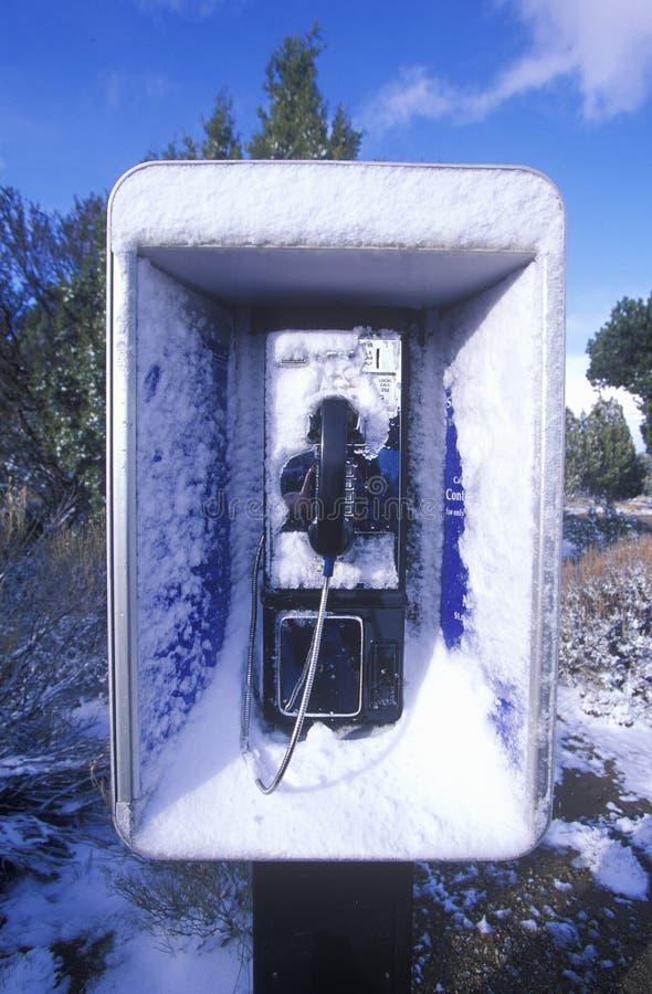 La neige a couvert le téléphone public, AZ photo stock