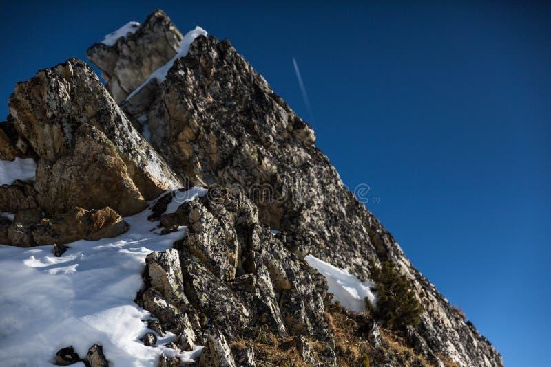 La neige a couvert le visage de roche photographie stock libre de droits