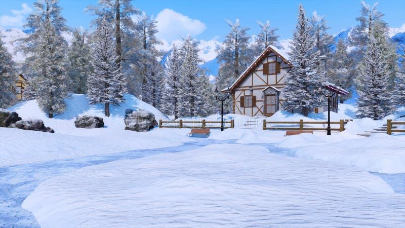 La neige a couvert la maison alpine de montagne au jour d'hiver photographie stock libre de droits