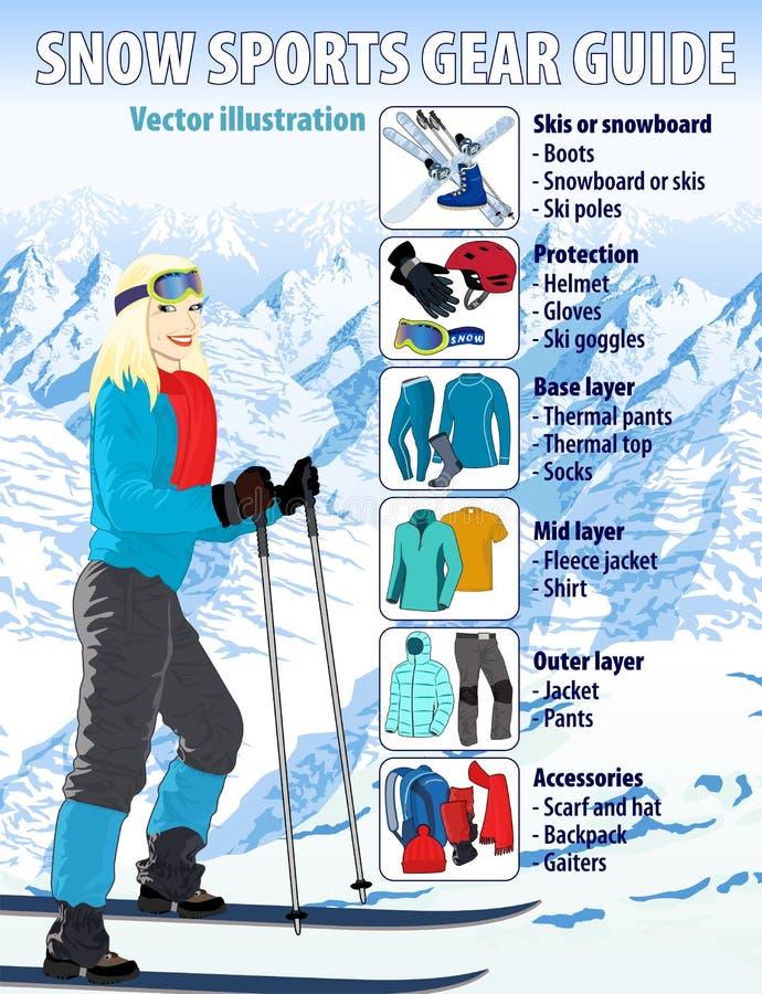 La neige d'hiver folâtre l'illustration infographic de vecteur de guide de vitesse illustration libre de droits