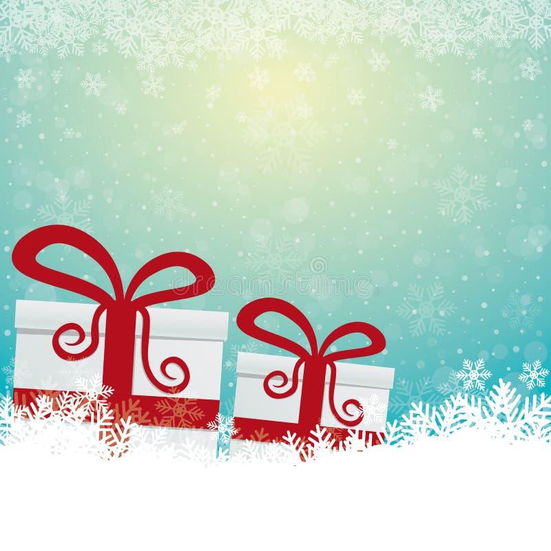 La neige de cadeau tient le premier rôle le fond blanc bleu illustration stock