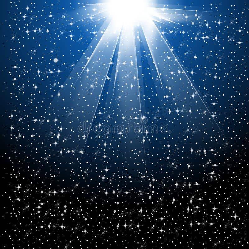 La neige et les étoiles tombent illustration de vecteur