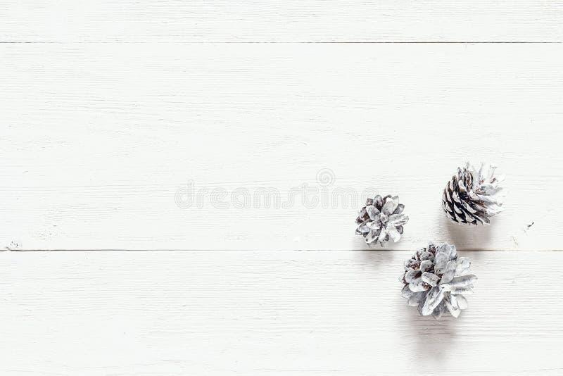 La neige a peint des cônes de pin sur la table en bois blanche rustique Noël De photographie stock