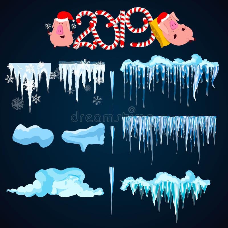 La neige réaliste, calottes glaciaires a placé d'isolement sur le fond transparent snowfall Saison de l'hiver Illustration de vec illustration de vecteur