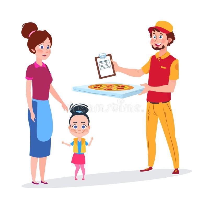 La neonata e sua madre si rallegrano l'illustrazione di vettore della consegna della pizza royalty illustrazione gratis