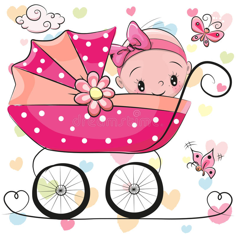 La neonata sveglia del fumetto sta sedendosi su un trasporto royalty illustrazione gratis