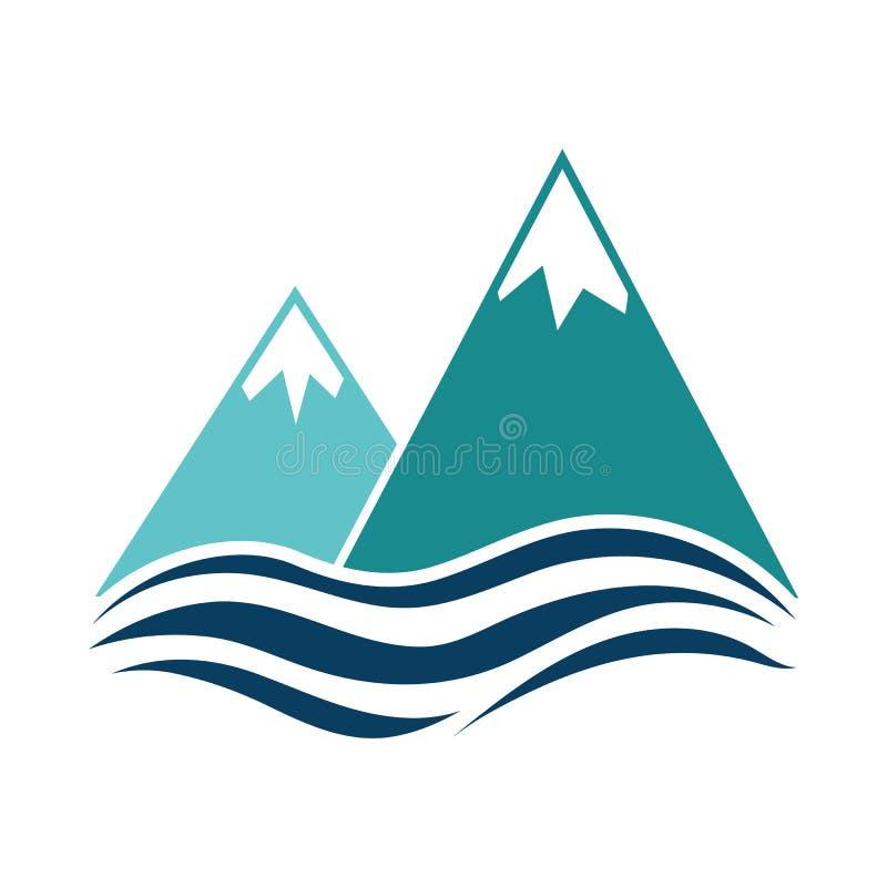 La neve alza la scogliera verticalmente sull'icona del mare illustrazione vettoriale