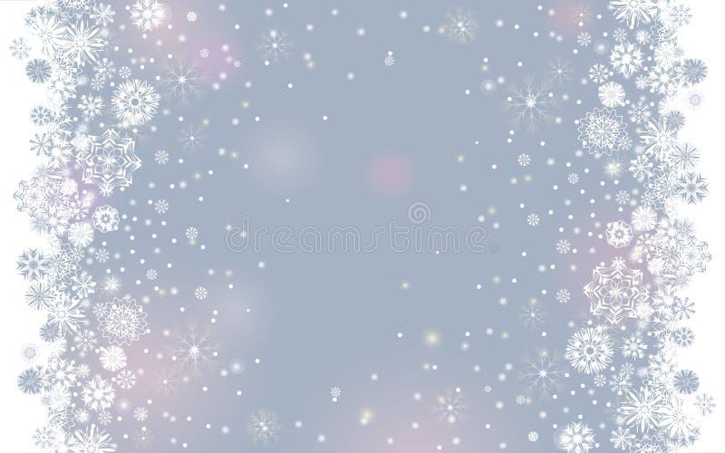 La neve di caduta rasenta un fondo tenero leggero di grey d'argento per la vostra progettazione del buon anno e di Buon Natale illustrazione vettoriale