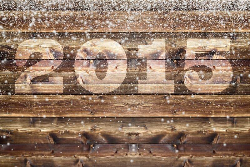 La neve di caduta si sfalda bordo di legno 2015 illustrazione vettoriale