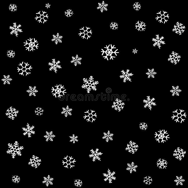 La neve o il cielo notturno di caduta con le stelle vector il modello senza cuciture illustrazione vettoriale