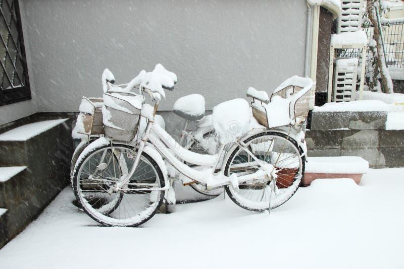 La neve più pesante nelle decadi a Tokyo ed altre regioni del Giappone fotografie stock libere da diritti