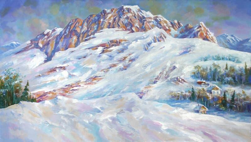 La neve va alla deriva al piede del supporto Fisht illustrazione vettoriale