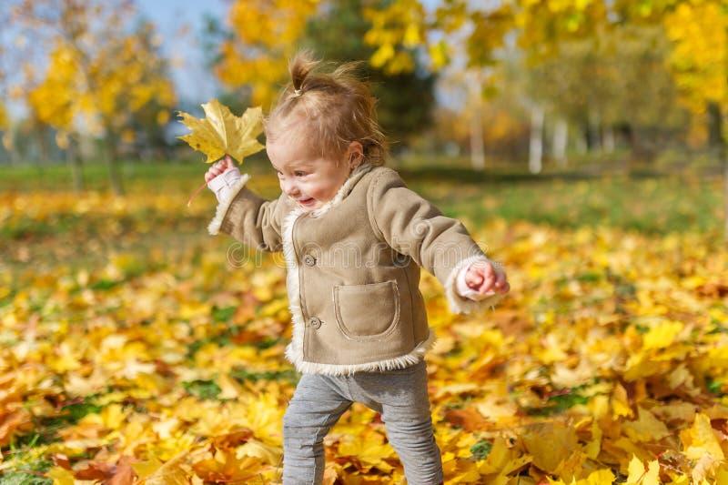La niña alegre juega en el parque del otoño imagen de archivo libre de regalías