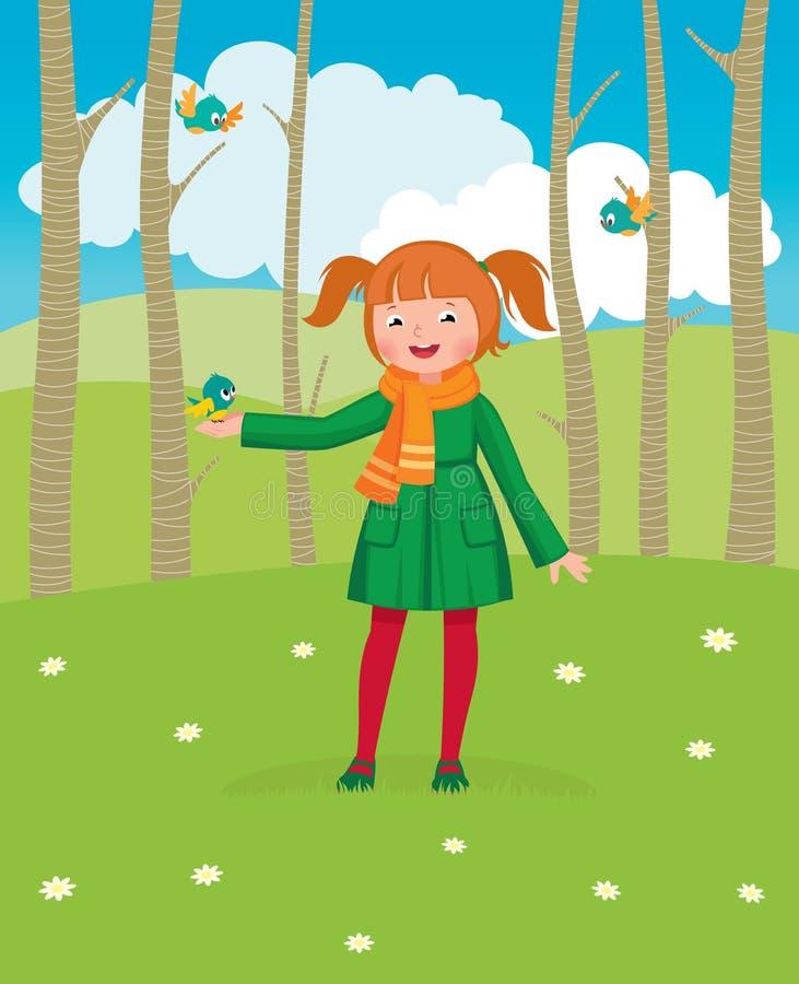 La niña camina en el bosque de la primavera y alimenta los pájaros stock de ilustración
