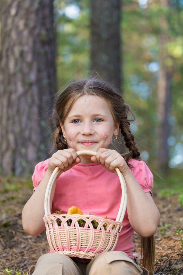 La niña coge setas en bosque imagenes de archivo