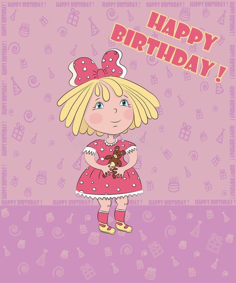 La niña con el oso celebra el cumpleaños, postal imagenes de archivo