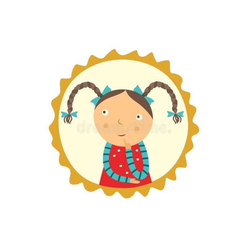 La niña curiosa linda con los peinados de las coletas se sostiene el finger cerca de cara, mira para arriba y piensa ilustración del vector