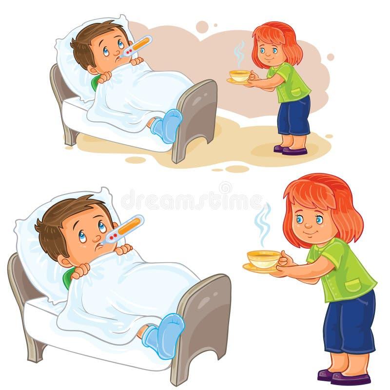 La niña del vector trajo una bebida caliente a un pequeño muchacho enfermo que mentía en cama libre illustration