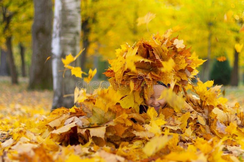 La niña feliz juega con las hojas de otoño en el parque fotos de archivo