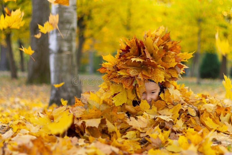 La niña feliz juega con las hojas de otoño en el parque imagen de archivo