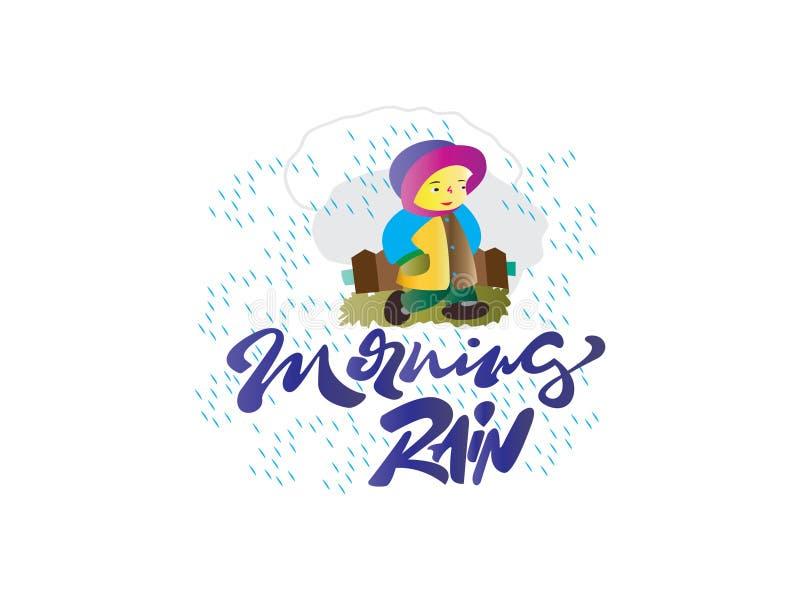 La niña hermosa que camina bajo la lluvia, lleva un ejemplo del suéter Lluvia nombrada vector de la mañana de la tipografía de la ilustración del vector