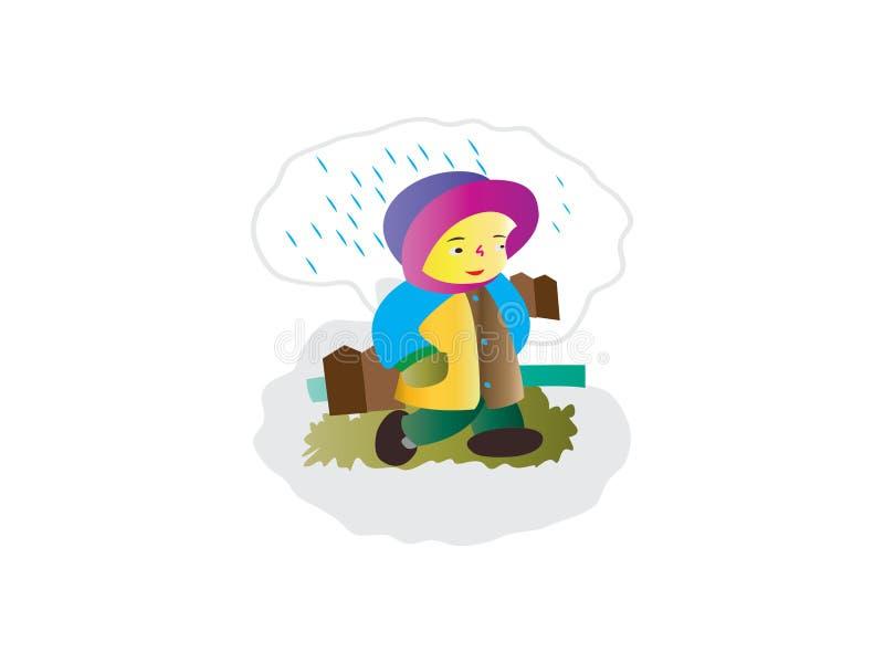 La niña hermosa que camina bajo la lluvia, lleva un suéter, libre illustration